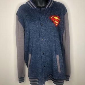 Superman fleece bomber varsity jacket men medium